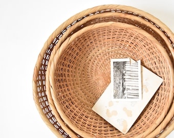 set of 3 nesting woven rattan bamboo basket / wall hanging basket