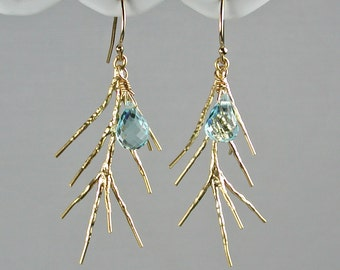 Gold Twig with Topaz Dew Drop Earrings