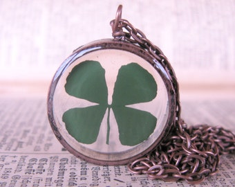 Lucky 4 Leaf Clover Pendant - Real 4 leaf clover encased in resin with clear copper bezel, Pressed Flower Jewelry