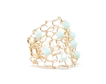 mint ring, crystal ring, gold ring, mint green, beaded ring, unique jewelry, friendship ring, half finger ring, wide band ring, for her