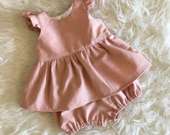 Linen Baby Outfit - Linen Baby Clothes - Coming Home Outfit - Linen Baby Girl Dress - Baby Shower Gift Girl - Linen Baby Girl Dress
