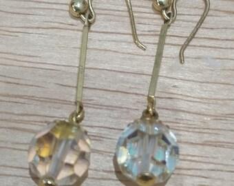 Vintage 9ct gold crystal drop earrings