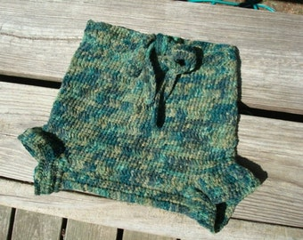 Hand Painted Wool Angora Crochet Shortie Soaker Diaper Cover for Toddler Boys - Tree Tops 883