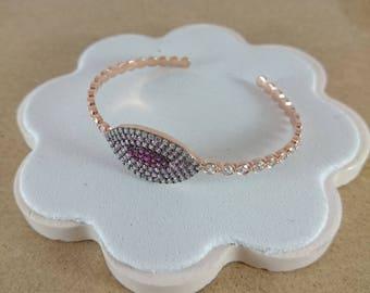 Sterling Silver Rose Gold Bangle, Bracelet, Silver Bracelet, Rose Gold Bracelet, Zircon Bangle, Crystal Bangle, Valentine