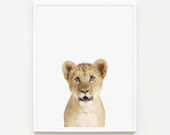 Baby Animal Nursery Art Print. Lion Cub Little Darling. Animal Wall Art. Animal Nursery Decor. Baby Animal Photo.
