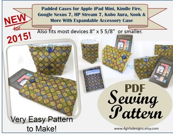 Instant Download Pdf Sewing Pattern. iPad Mini, Kindle, Google Nexus, Kobo, Nook, and More. Padded Sleeve for Electronic Devices