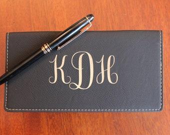 Black Leather Check Book Cover, Personalized Check Book Cover, Engraved Check Book Cover With Monogram Design, Monogram Checkbook Cover
