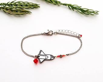 Bracelet small rocket - space shuttle black and white - red silver
