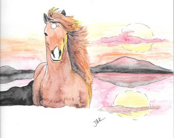 Horse - High Quality Art Print - Ink Drawing & Watercolour