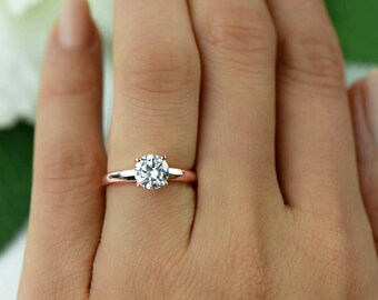 1 5 Ct Classic Engagement Ring Man Made Diamond Simulant