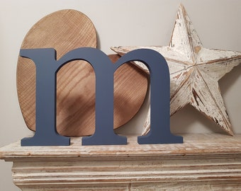 Wooden Standing Letter - m - New Times Roman - large lowercase, 20cm high, Painted, different finishes and colours available