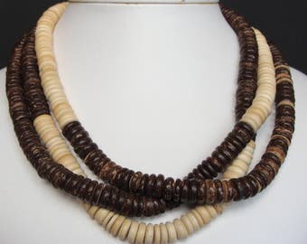 COCONUT HEISHI NECKLACE ethnic tribal natural earth mama (C2)