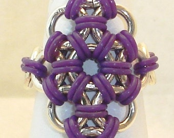 Rubber Polyiamond Rings Japanese Chainmaille Weave