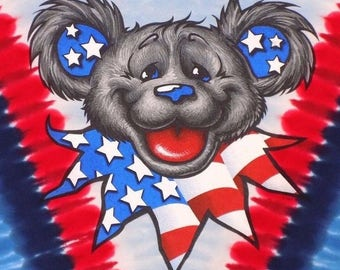 america grateful dead dancing bear tie dye t shirt vintage
