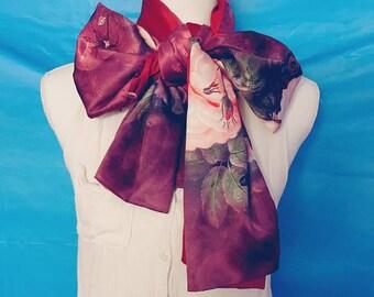 Silk scarf Burgundy Silk Scarf Women Fashion, For Her Gift