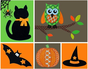 Halloween Applique Template Set. Pumpkin, Jack O Lantern, Witches Hat, Cat, Owl, Branch, Spider Web. Multiple Purchase Discount