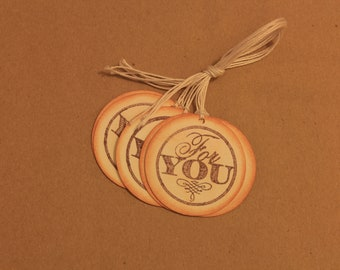 "Round ""For You"" gift tags, set of 6"