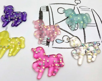 Unicorns colorful Clear Glitter 6 PC Resin Plastic Kawaii Decoden Kitsch Flatbacks Cabochons UC012118