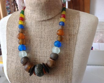 20% OFF- Large Recycled Krobo glass from Ghana.Etnica Tribal nomadic Bedouin  necklace. Collana berbera sud Sahara . HW 187
