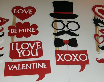 Photo Booth Prop Valentines Day ~ Mustache,Glasses, Hats, Lips, Ties and more 22 Pieces (2057D)