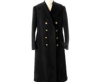 WW2 Navy Bridge Coat - Double Breasted Wool - Vintage Military Uniform Coat World War Two Union Made - Large
