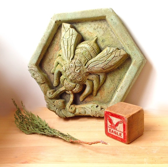 Bee art tile wall sculpture garden sculpture altar piece