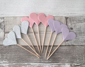 Fairy cupcake toppers, pastel toppers, pink silver and lilac toppers, unicorn cupcake toppers, wedding, baby shower.