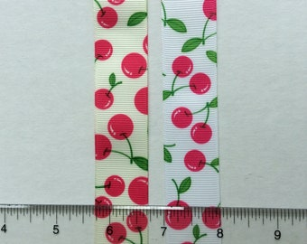 Cherries in Pink on white and off-whiteGrosgrain Ribbon 1""