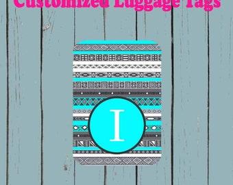 Aztec Print Monogram Teal Luggage Tag - Luggage Tag Monogrammed