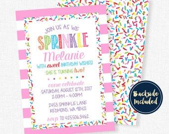 Sprinkles Birthday Invitation, Girl Birthday Invitation, Sprinkle With Birthday Wishes Invitation