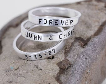 Handmade Personalized Name Rings, Thin Sterling Silver Stack Rings, Word Rings, Hand Stamped Jewelry, Names Words, Christina Guenther