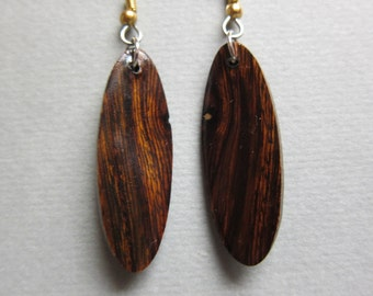 Desert Ironwood Long Narrow Dangle Earrings, Exotic Wood silver gold hypoallergenic handmade ExoticwoodJewelryAnd