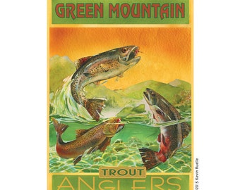 Trout - Green Mountain Vermont Travel Poster