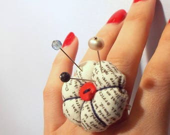 Text Print Pincushion Ring with Three Decorative Pins