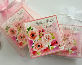 Shower Favors, Bridal Shower, Baby Shower, Birthday Party Favors, Soap Favors, set of 12, watercolor florals