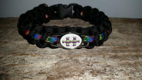 Autism Aspergers Awareness ribbon 550 paracord survival bracelet shoelace charm