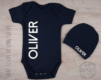 Baby Boy Outfit, PERSONALIZED Baby Bodysuit & Hat Set, Baby Boy Coming Home Outfit, Baby Boy Gift, Baby Boy Clothing, Take Home Outfit Boy