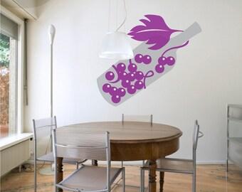 Vino Vino Vino - Wine Bottle w/ Grapes and Vine - Vinyl Wall Decal
