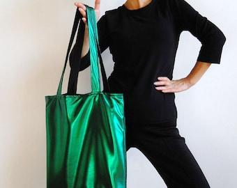 Metallic Green Tote Bag - New York Tote Bag