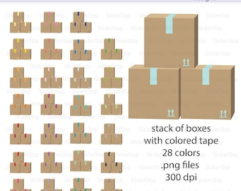 Stack of Boxes with Colorful Tape Icon Digital Clipart in Rainbow Colors - Instant download PNG files