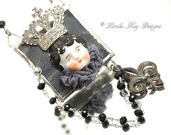 The Queen Soldered Wearable Art Doll Necklace China Doll Face Rhinestone Crown Pendant or Decoration Mori Girl Lorelie Kay Designs