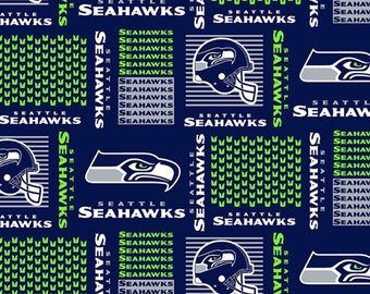 """SEATTLE SEAHAWKS ~ Patchwork  Squares Blue ~ NFL 100% Cotton Fabric ~ 1/2 Yard Cut ~ 18"""" x 58"""" by Fabric Traditions"""