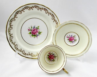 Aynsley Trio, Tea Cup, Saucer and Plate, with Pink Rose Center, Vintage Tea Cup, Mismatched Trio