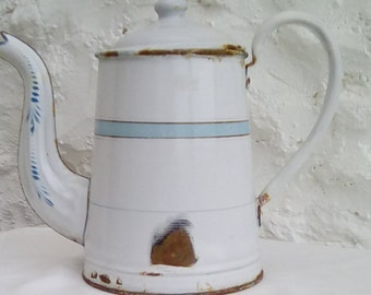 French antique enamelware coffee pot. Late 19th century.