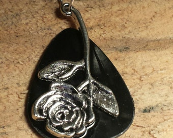 Vinyl Record Guitar Pick Necklace - Rose thorn