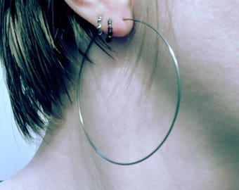 """2.5"""" hoop earrings-- primitive series-- handmade by thebeadedlily"""