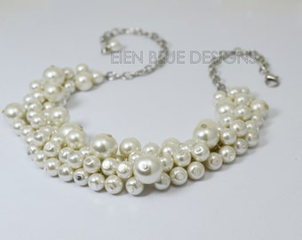 Ivory Pearl Necklace, Pearl Cluster Necklace, Bridal Pearl Necklace, Chunky Pearl Necklace, Ivory Pearl Bridal Necklace, Bridesmaid Necklace