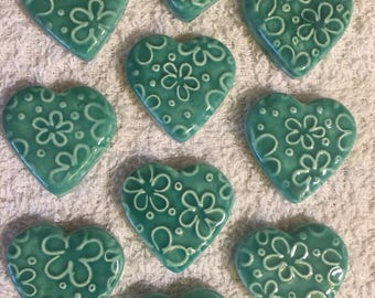 10 Handcrafted Seafoam Blue Green Heart Tiles That Can Be Used In Mosaic And Other Mixed Media Projects