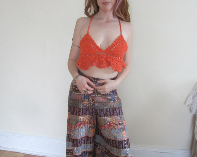 ORANGE CROPPED TOP, crochet  halter crop top, festival clothing, Bohemian top, crochet halter top, beachwear, gypsy, burning man,  ,