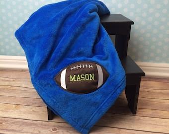 Football Blanket, Personalized Blanket, Applique Football, Plush Blanket, Birthday Gift, Embroidered Football Blanket